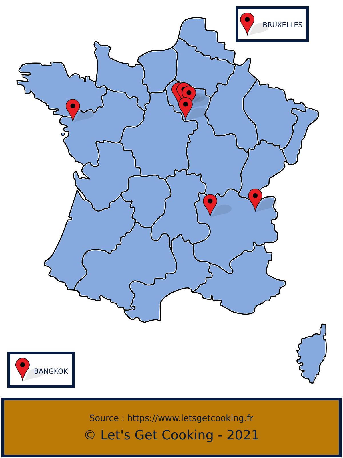 Carte de France des candidats de TOP Chef 2021